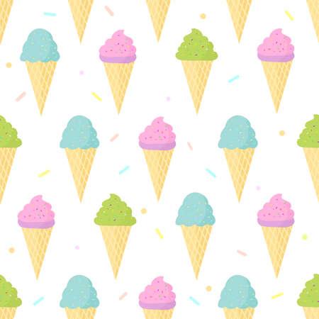 Cute ice cream seamless pattern background.