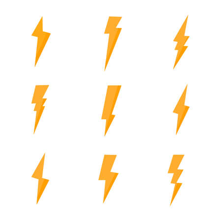 set of Thunder isolate on white background.