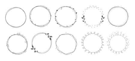 Wreath circle frame set on white background.