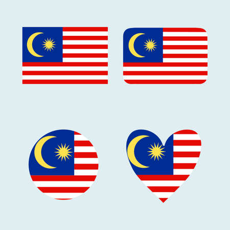National Malaysia flag icon set. Illustration