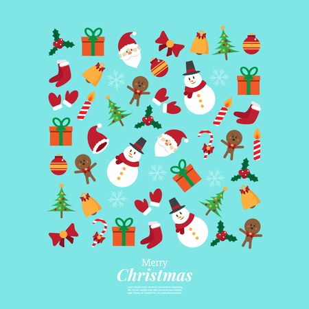 merry christmas. santa claus and stuff. icons decoration in square shape. vector illustration.