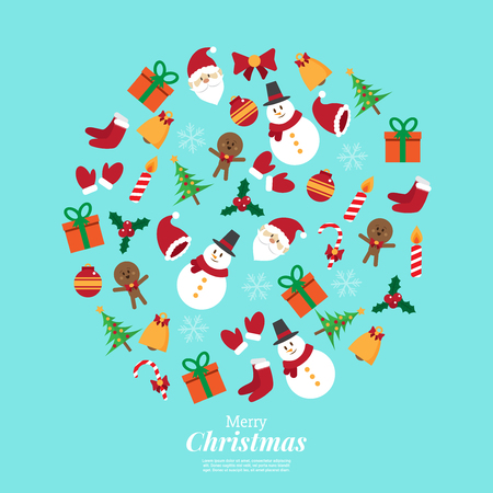 merry christmas. santa claus and stuff. icons decoration in circle shape. vector illustration.