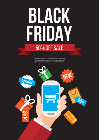 black friday sale. online shopping with smartphone. poster , banner , background or template. vector illustration.