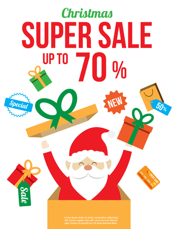 christmas sale with cute santa claus. shopping poster , banner , background or template. vector illustration.