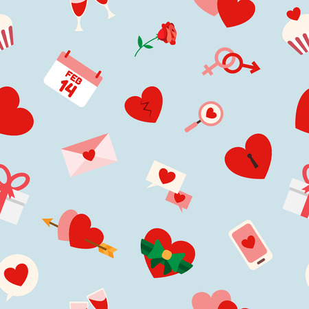 february calendar: Valentines and Wedding , Seamless Pattern. Heart , Love , Dating and Relationship. Vector illustration.