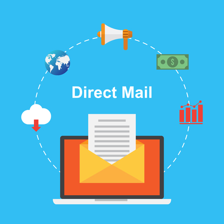 mail marketing: direct mail. marketing content. business design concept. vector illustration.