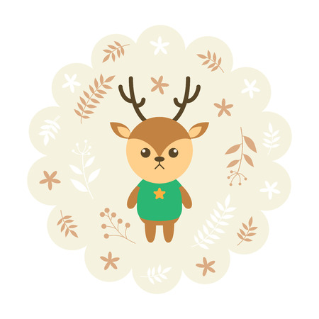 childern: deer , reindeer. vector illustration cartoon , mascot. funny and lovely design. cute animal on a floral background. little animal in the childrens book character style. Illustration