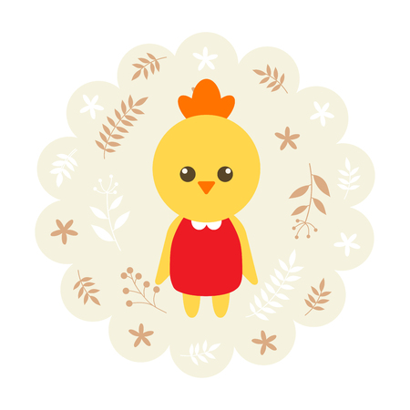 childern: chick , chicken. vector illustration cartoon , mascot. funny and lovely design. cute animal on a floral background. little animal in the childrens book character style.