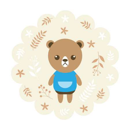 bear. vector illustration cartoon , mascot. funny and lovely design. cute animal on a floral background. little animal in the childrens book character style.