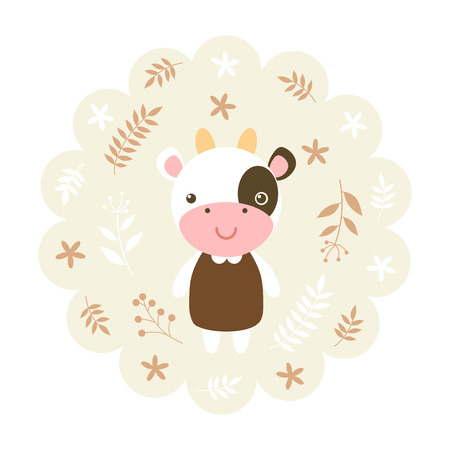 childern: cow. vector illustration cartoon , mascot. funny and lovely design. cute animal on a floral background. little animal in the childrens book character style.
