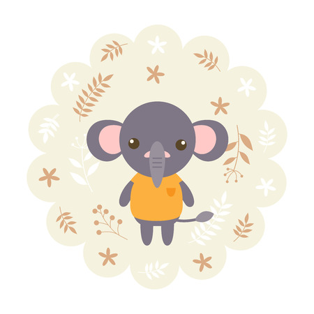 childern: elephant. vector illustration cartoon , mascot. funny and lovely design. cute animal on a floral background. little animal in the childrens book character style. Illustration