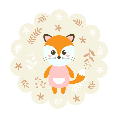 childern: fox. vector illustration cartoon , mascot. funny and lovely design. cute animal on a floral background. little animal in the childrens book character style. Illustration