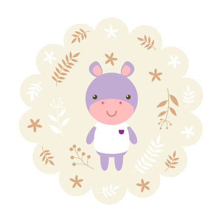 childern: hippo , hippopotamus. vector illustration cartoon , mascot. funny and lovely design. cute animal on a floral background. little animal in the childrens book character style.