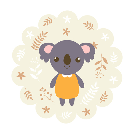 childern: koala bear. vector illustration cartoon , mascot. funny and lovely design. cute animal on a floral background. little animal in the childrens book character style.