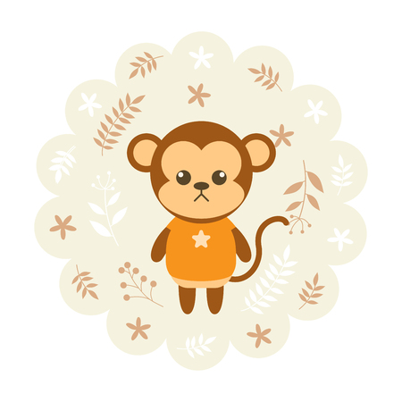 childern: monkey. vector illustration cartoon , mascot. funny and lovely design. cute animal on a floral background. little animal in the childrens book character style.