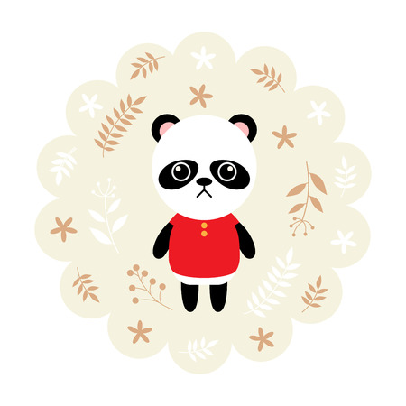childern: panda bear. vector illustration cartoon , mascot. funny and lovely design. cute animal on a floral background. little animal in the childrens book character style.