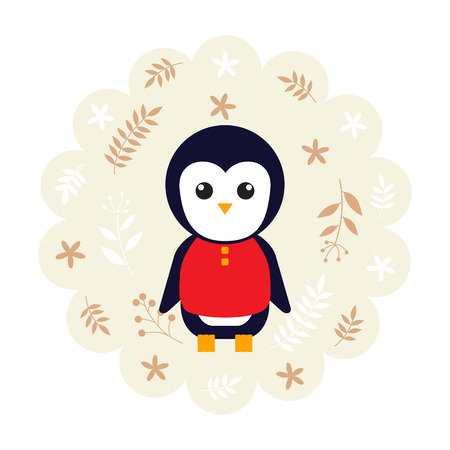 childern: penguin bird. vector illustration cartoon , mascot. funny and lovely design. cute animal on a floral background. little animal in the childrens book character style. Illustration