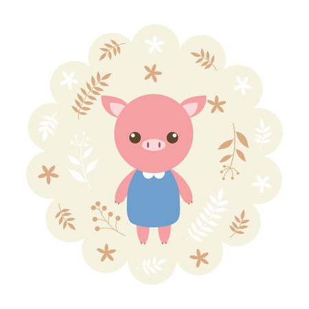 childern: pig. vector illustration cartoon , mascot. funny and lovely design. cute animal on a floral background. little animal in the childrens book character style. Illustration