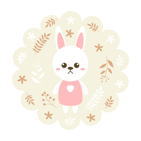 childern: rabbit , bunny. vector illustration cartoon , mascot. funny and lovely design. cute animal on a floral background. little animal in the childrens book character style. Illustration