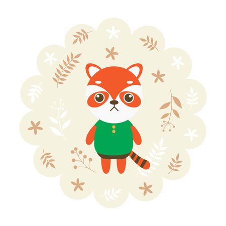 childern: red panda. vector illustration cartoon , mascot. funny and lovely design. cute animal on a floral background. little animal in the childrens book character style. Illustration