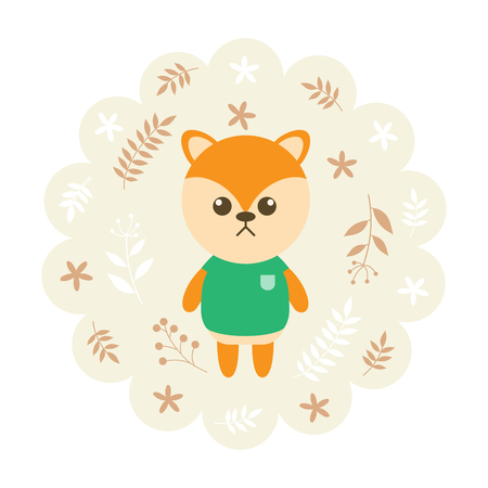 childern: shiba dog. vector illustration cartoon , mascot. funny and lovely design. cute animal on a floral background. little animal in the childrens book character style.