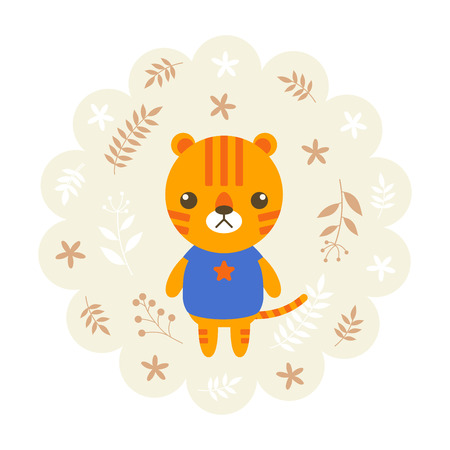 childern: tiger. vector illustration cartoon , mascot. funny and lovely design. cute animal on a floral background. little animal in the childrens book character style.