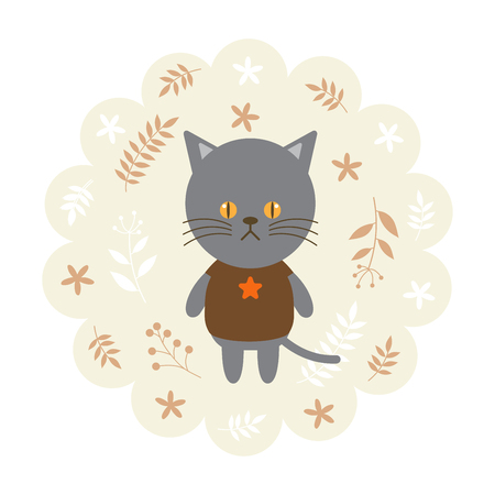 childern: cat , kitten. vector illustration cartoon , mascot. funny and lovely design. cute animal on a floral background. little animal in the childrens book character style.