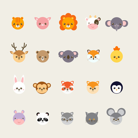 childern: Set of animals cartoon vector illustration. A collection of small lovely and funny animals logo, icons or mascots. Little animals in the childrens book character style.
