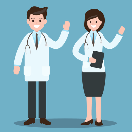 male doctor and female doctor. healthcare worker, job , occupation.vector illustration.