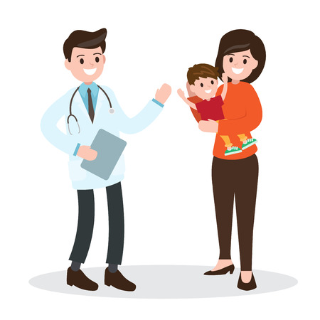 health caring of the child. pediatrician and mother with son. vector illustration on white background.