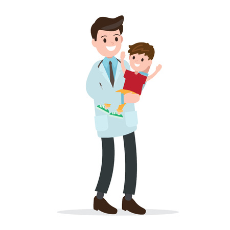 Pediatrician and healthy cheerful cute children. professional doctor , job , occupation. vector illustration.