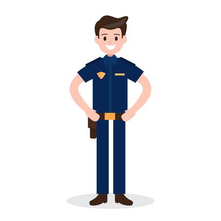 smiling policeman on white background. worker , officer , job , occupation. vector illustration. flat design style.