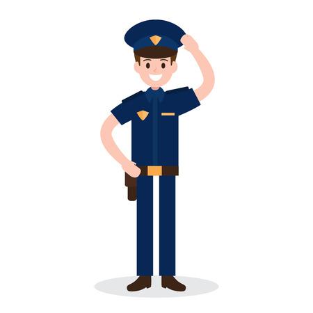 patrol: smiling policeman on white background. worker , officer , job , occupation. vector illustration. flat design style.