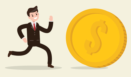 businessman chasing coin. happy worker. business design concept. vector illustration.