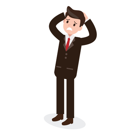 stress and serious businessman. a man with problem. business design concept. vector illustration.
