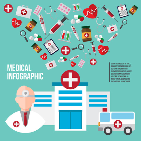 healthcare and medical design concept. doctor and instrument icons. vector illustration.
