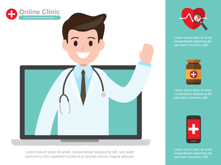 Male doctor. vector illustration. online healthcare diagnosis and medical consultant. infographic design.