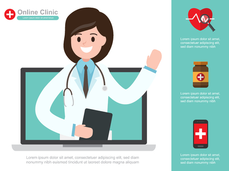 Female doctor. vector illustration. online healthcare diagnosis and medical consultant. infographic design.