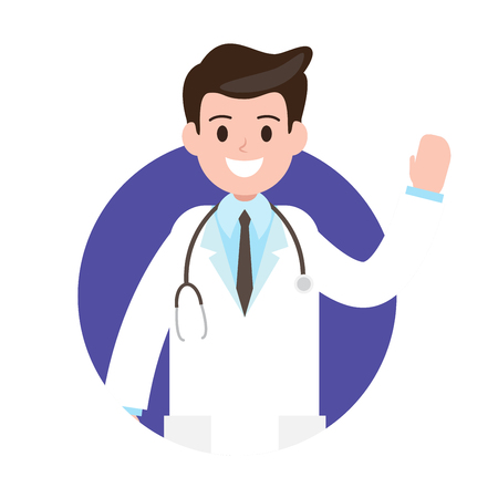 Male doctor. avartar , icon vector illustration. professional healthcare diagnosis and medical consultant. Illustration