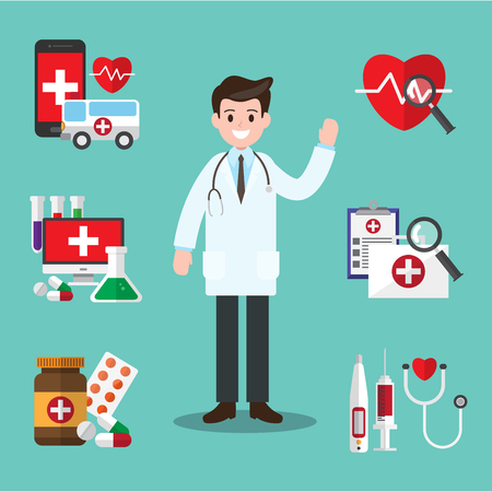 Male doctor. vector illustration. healthcare diagnosis and medical consultant. infographic design.