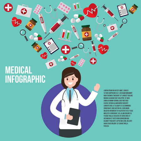 female doctor with instrument icons. vector illustration. healthcare and medical consultant design concept.