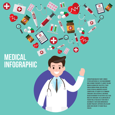 male doctor with instrument icons. vector illustration. healthcare and medical consultant design concept.