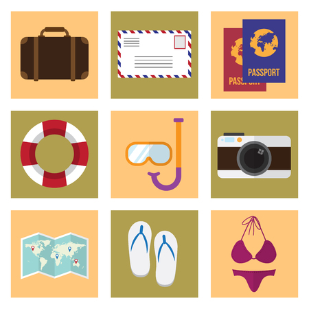 summer icons set. journey and travel design concept. vector illustration.