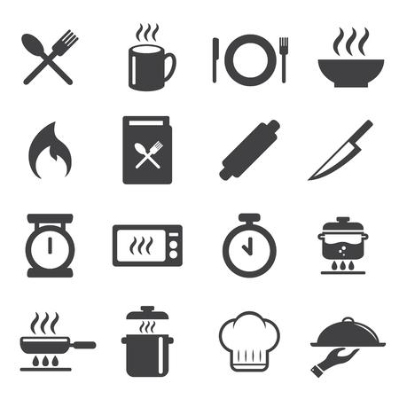 cook , cooking, restaurant icons set. vector illustration. cuisine , kitchen design concept. Illustration