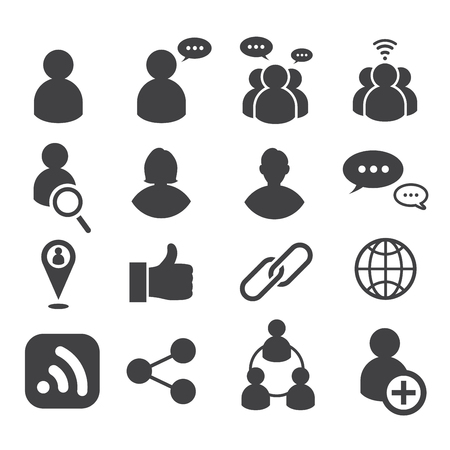 social icons set. vector illustration. communication and social network design concept.