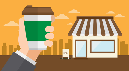 Hand holds beverage coffee at a street cafe vector illustration.