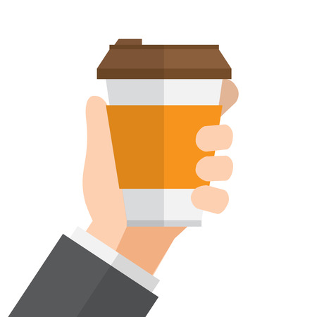 Hand holds a cup of coffee vector illustration.