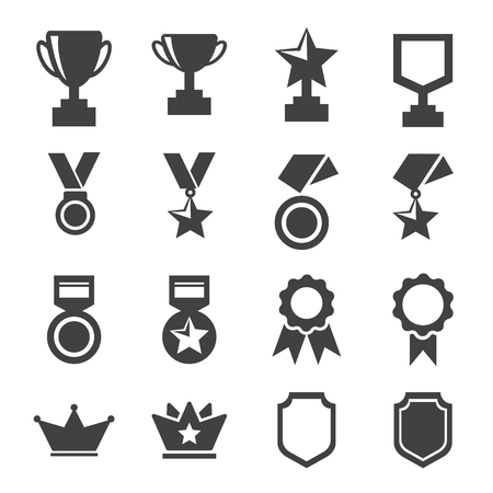 Award and trophy icons set vector illustration.