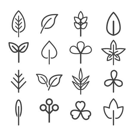 Leaf icons set. natural and ecology design concept. vector illustration.