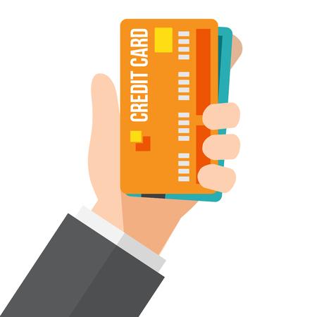 hand holds credit card. vector illustration. Illustration